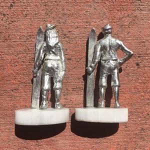 Skier pewter figurines, hand cast