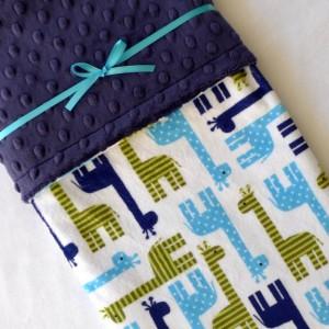Boy Baby Blanket - Minky Baby Blanket - Giraffe Baby Blanket - Navy Blue - Jade Green - Navy Blue Baby Blanket for Your Baby Boy