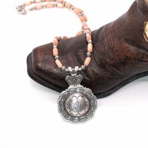 Concho Floral Necklace with Brown/Orange Glass Cat Eye Glass Beads