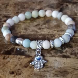 Natural Healing Amazonite Gemstone Bracelet | Evil Eye and Hamsa Hand Bracelet For Good Luck, Peace and Protection | Ladies Charm Bracelet