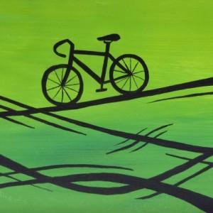 """Green Designer Bike"" original painting"