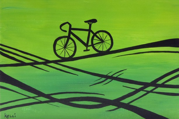 """Green Designer Bike"" original painting"