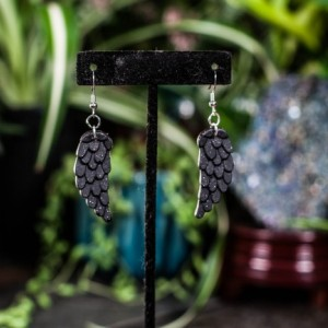 Polymer clay feather wing earrings