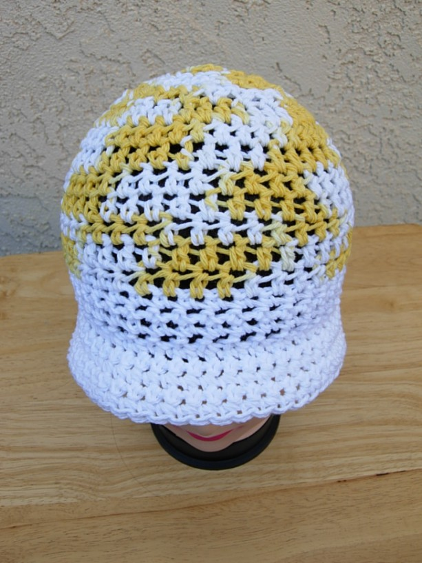dcee7b53 ... Bright Yellow and White Summer Beach Sun Hat, 100% Cotton Women's  Crochet Knit Beanie ...