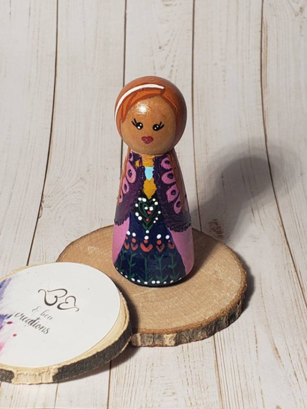 Anna inspired Wooden peg Anna doll; frozen wooden peg doll; handpainted princess Anna wooden peg doll; personalized Wooden