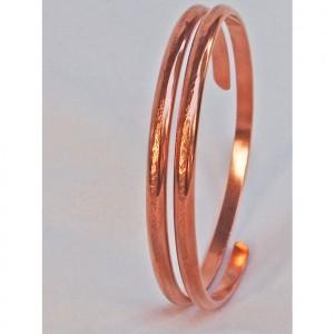 Linen Textured Hand Forged Copper Spiral Bracelet