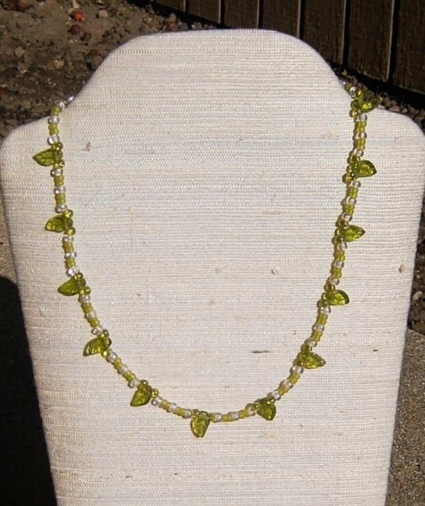 Lime green leaf necklace