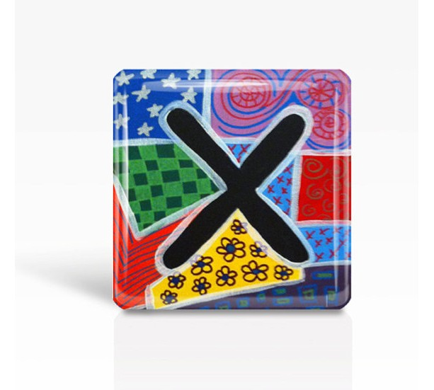 "ALPHABET Letter ""X"" - Glass MAGNET By Artist A.V.Apostle- 2""x 2"""