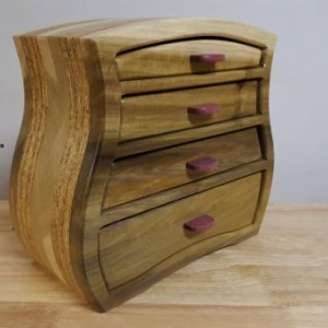 Jewelry box made from poplar,osb,and purple heart