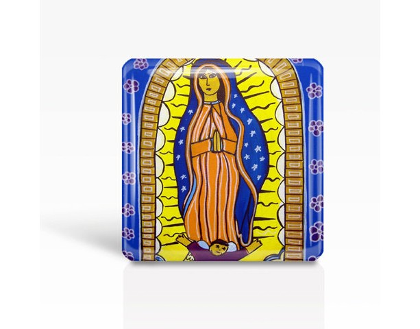 "Mexican Folk Art- Our Lady of Guadalupe - Glass MAGNET By Artist A.V.Apostle- 2""x 2"""