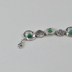 Silver Lentil and Green Aventurine Bracelet