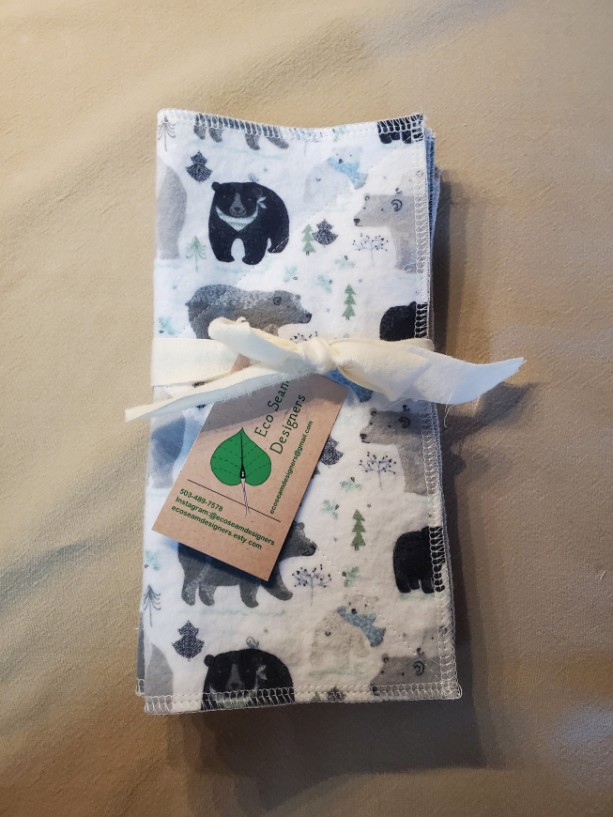 Unpaper Paperless Towels, Environmentally Friendly, Reusable 2 ply 10 x 10 Flannel