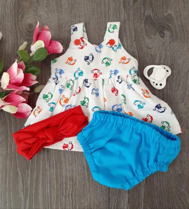 3 Piece Set - Preemie Dress, Diaper Cover, Headband
