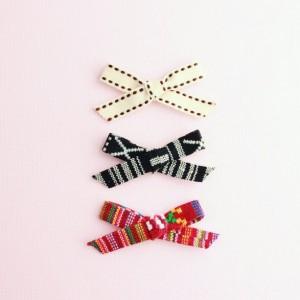 Clip or Headband, tribal bows (Set of 3), newborn headband, little girl clip, toddler hair