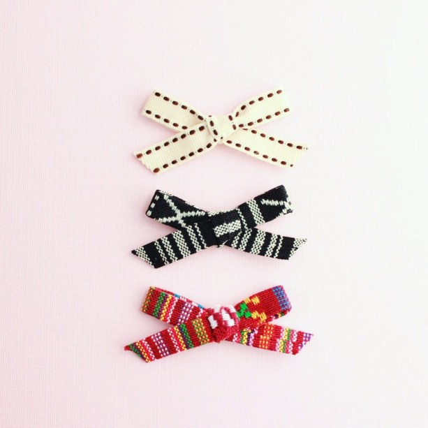 Clip or Headband, tribal bows (Set of 3), newborn headband, little girl clip, toddler hair