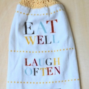 Eat, Laugh, Love Crochet  Top Towel, Kitchen Hand Towel, Crochet KitchenTowel