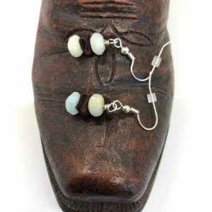 Boho Amazonite Earrings Made with 8x5mm Rondelle Stones and Leather Spacer
