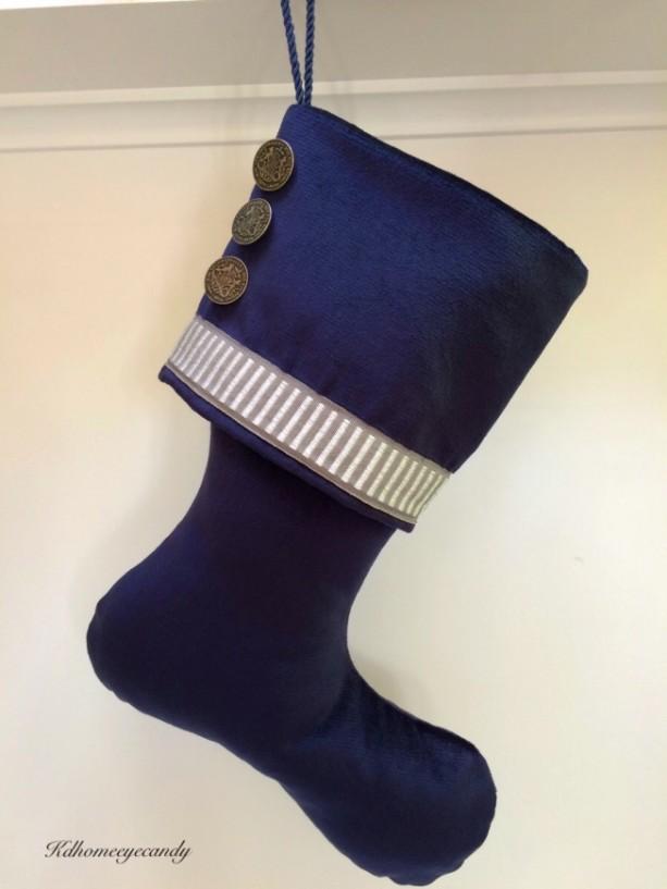 navy christmas stocking blue christmas stocking blue and silver christmas stocking - Blue Christmas Stockings