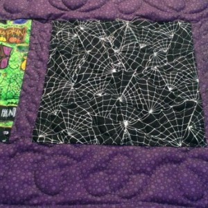 Halloween table topper. Handmade quilted halloween table runner.  Witches and gooblins halloween table decor.