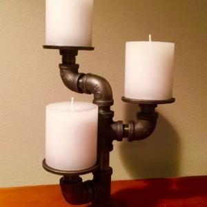 Industrial black pipe candle holder, CANDELABRA,  Loft Style, Urban, Steampunk Decor !!SALE!!