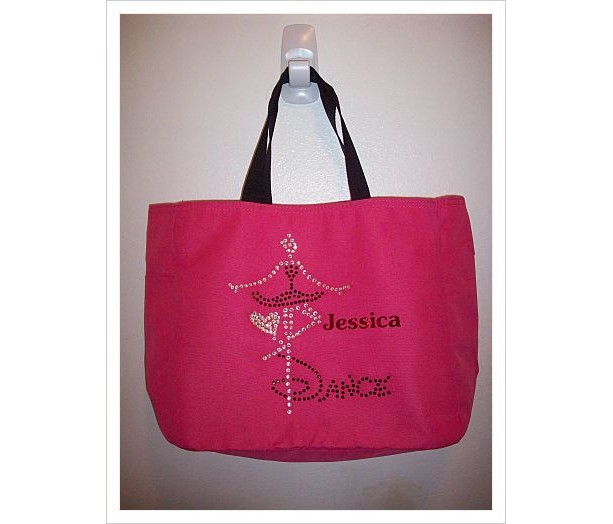 Personalized Rhinestone Dance Tote Bag with Pockets