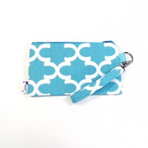 Medium Wristlet Zipper Pouch Clutch - Blue Fulton