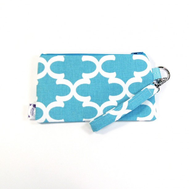 Medium Wristlet Zipper Pouch Clutch - Blue Fulton