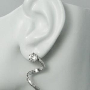 Earring Jacket Sterling Silver Diamond Enhancer Stud Jacket Spiral Art Deco Design Earring Jackets for Studs Gemstone Enhancer JSADSS