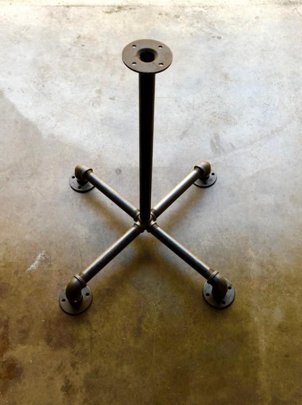 "Black Pipe Table Base ""DIY"" Parts Kit, Pedestal Table Base, Pub, Bar Table,1"" Pipe x 28"" Tall, 24"" Wide Base"