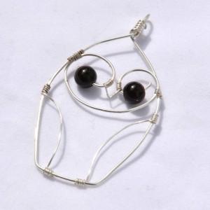 Owl pendant, owl necklace, wire necklace, silver owl pendant, wire wrapped pendant, wire wrap, handmade jewelry, black eye owl, black owl