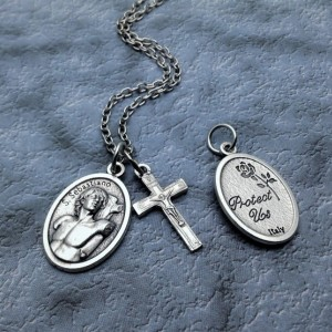 Personalized Saint Sebastian Protect Us Necklace. Patron Saint of Soldiers and Athletes