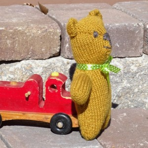 Organic Natural Toy,  Teddy Bear, Stuffed Wool Toy, Hand Knit Wool Bear, Eco-Friendly Toy, Ready To Ship, All Handmade, All Natural Toy