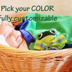 Green Tree Frog Security Blanket, Lovey Blanket, Satin, Baby Blanket, Stuffed Animal, Baby Toy - Customize Color - Add Monogramming