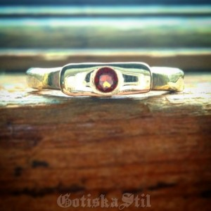 Primeval Brass Stacking Band with Garnet