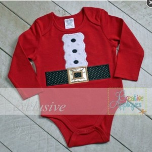 Santa Suit Appliqué Christmas Bodysuit - Perfect for Christmas Pics with Santa!