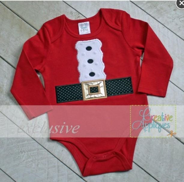 Santa Suit Appliqué Christmas Bodysuit - Perfect for Christmas Pics with Santa!