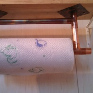 Solid Copper under cabinet paper towel holder Free shipping in USA
