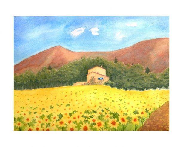 Sunflower Villa Original Watercolor Painting, 8x10