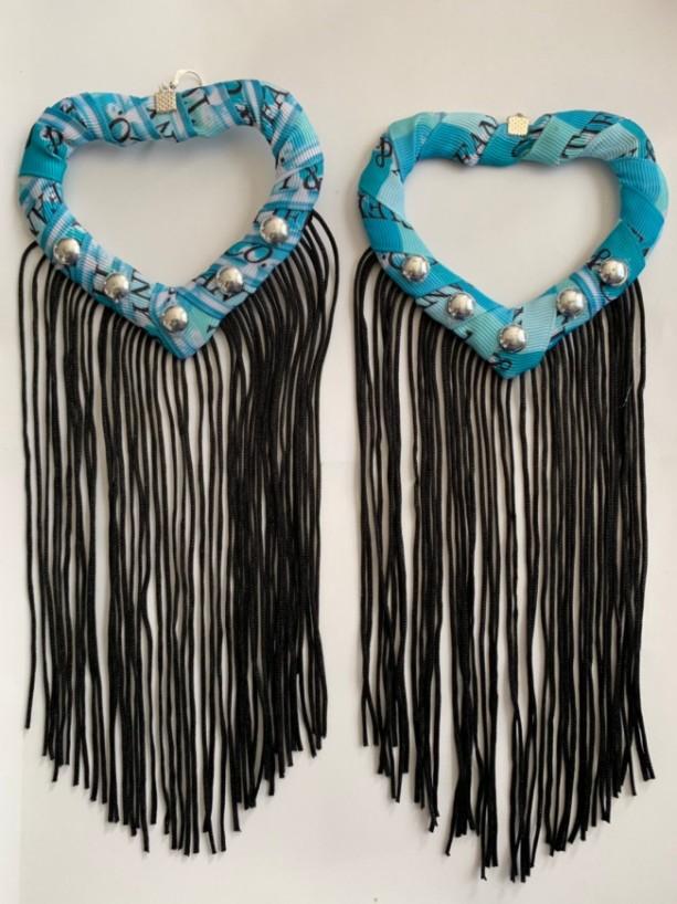 Aqua tiffany print tassel earrings