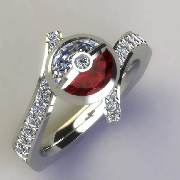Diamond & Ruby Pokeball Inspired 14k White Gold Palladium Ring,Platinum Ring, Diamond Ruby Ring, Ball Ring, Pokeball Ring, Give Her A Ball