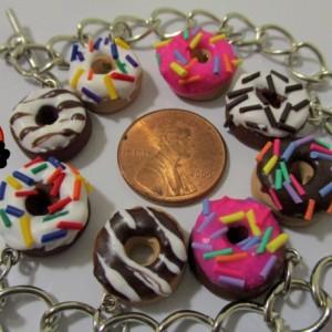 Doughnut Charm Bracelet - Cake Doughnut With Sprinkles - Kawaii - Rainbow Sprinkles - Frosted Doughnut - Doughnut Charm - Food Jewelry