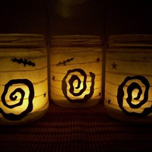 Grungy Primitive Halloween Boo Lantern Candle Holder Set Luminary Light Mantel Porch Camping Table Grungy