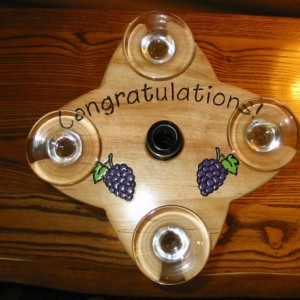 Wine Caddy - 4 glass holder - Congratulations