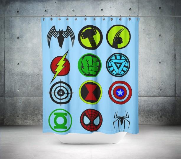 Super Hero logo Shower Curtain