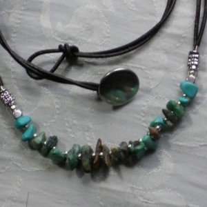 December Turquoise birth stone - chips beads necklace with brown Leather and silver tone beads. #N0090