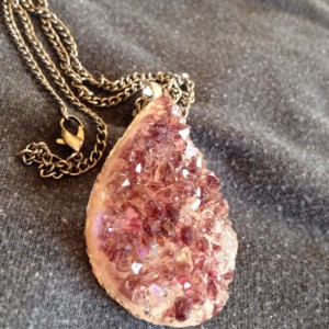Purple Iridescent Druzy Crystal Resin and Glass Pendant