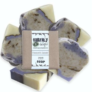 Lavender Essential Oil Scented Soap Bar with Chamomile Flowers | Vegan Friendly | 5.5 oz. Large Bars