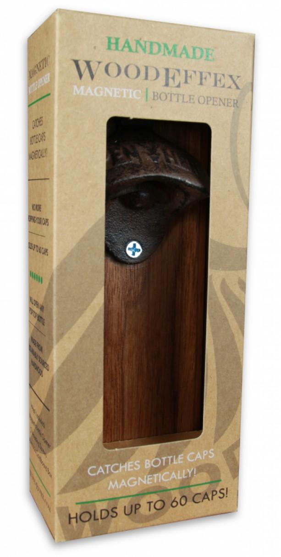 Bottle Opener Magnetic Cap Catcher Handcrafted Walnut Wood With Antique Bronze Custom Text