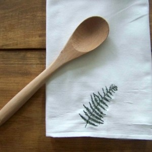 Embroidered Fern Tea Towel