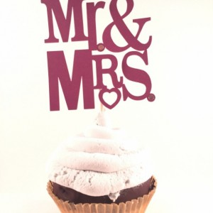 Mr. & Mrs. Bridal Shower Cupcake Toppers - Set of 12